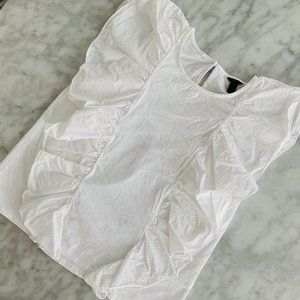 J. CREW White Flutter Sleeveless Blouse Small